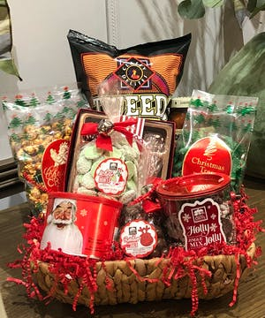 Our gourmet snack baskets are filled with ready-to-eat treats perfect for holiday gift giving!  Send to friends, family or the office!