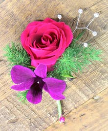 Sweetheart Rose & Dendrobium Orchid Boutonniere