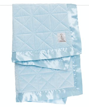 Quilted velvet blanket edged in satin trim that's wildly soft and cozy. Perfect for the stroller, crib or playtime on the floor.