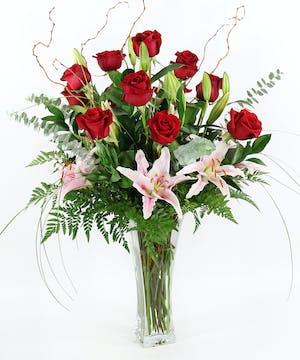 Twelve Roses & Lilies - Gainan's Flowers - Billings MT