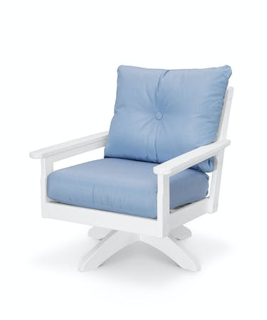 Sensational Vineyard Deep Seating Swivel Chair White Air Blue Andrewgaddart Wooden Chair Designs For Living Room Andrewgaddartcom