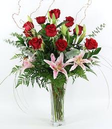 Twelve Roses & Lilies